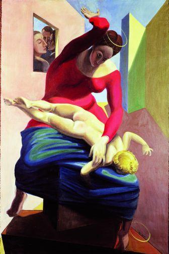 """""""La Vergine sculaccia il bambino davanti a 3 testimoni"""", 1926, Max Ernst. In questo insolito quadro della vergine il pittore surrealista Max Ernst sconvolge, provoca e critica secoli di pittura sacra, ma ci suggerisce anche che la funzione genitoriale, oltre alla dolcezza e alla tenerezza """"rinascimentali"""", comporta anche momenti in cui porre un """"limite"""" educativo ai figli. Questo spunto non vuole essere un invito a porre tale limite con la forza fisica, ma si limita a mostrare come esser genitore non significhi assecondare sempre i figli."""