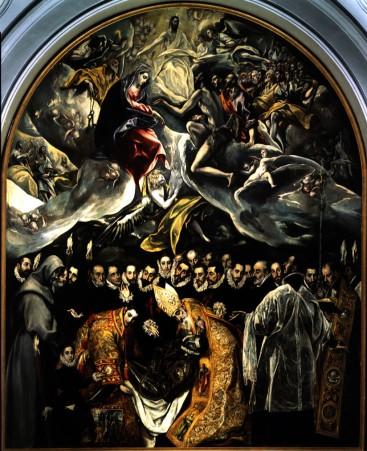 La Sepoltura del Conte di Orgaz, 1586, quadro di Domenico El Greco, Chiesa del Santo Tomé, Toledo. In questo quadro si vede il corpo del conte sulla parte bassa del dipinto, con un angelo che accompagna l'anima del defunto verso la parte superiore del dipinto, ossia il Paradiso, dove vi è Cristo, la Madonna e San Giovanni Evangelista. La parte mediana del quadro è il confine fra il Mondo terreno e l'Aldilà, con l'anima che passa attraverso un varco fra le nuvole (rappresentazione allegorica della nuova nascita nella vita ultraterrena)