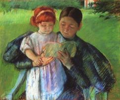 """Mary Cassatt: """"La Balia che insegna ad una piccola bambina a leggere"""". In questo quadro la pittrice statunitense allieva di Degas mostra bene come l'apprendimento passi attraverso la relazione di cura dell'adulto, che può aiutare l'apprendimento del bambino solo attraverso la reazione d'affetto che lo lega a lui"""